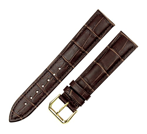Crocodile Watch Strap (RECHERE Alligator Crocodile Grain Leather Watch Band Strap Gold Pin Buckle Color Brown (width 17mm))