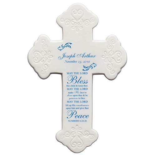 Small Ceramic Cross - Fox Valley Traders Personalized Bless This Child Ceramic Cross, Blue