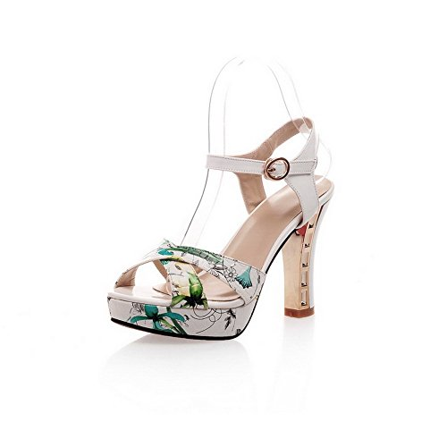 AllhqFashion Women's Peep Toe High-Heels Patent Leather Assorted Color Buckle Sandals Green