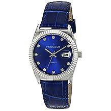 Peugeot Women's Quartz Metal and Leather Dress Watch, Color:Blue (Model: 3045BL)