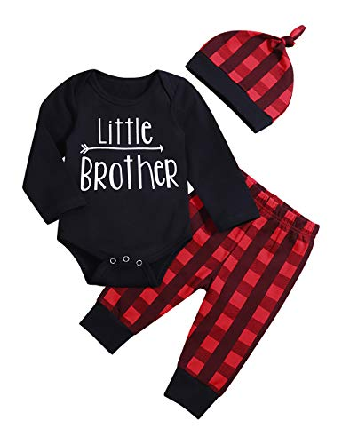 Newborn Infant Baby Boy Girl Clothes Long Sleeve Romper Top,Plaid Pants+ Cute Hat 4Pcs Clothes Outfits Set (B-Black, 12-18 Months)