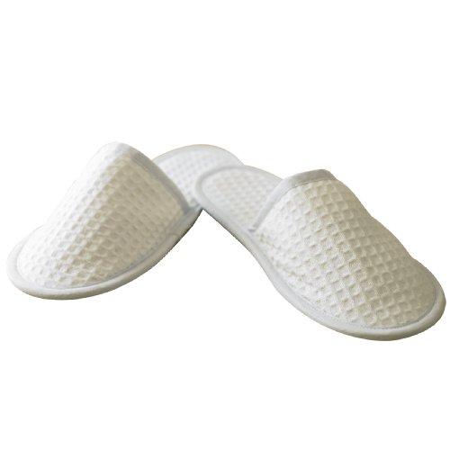 Towel City Unisex Closed Toe Waffle Fabric Mule Slippers 4/7-8/11 White 47wDyW