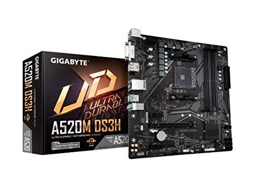 GIGABYTE A520M DS3H (AMD Ryzen AM4/MicroATX/5+3 Phases Digital PWM/GIGABYTE Gaming GbE LAN/NVMe PCIe 3.0 x4 M.2/3 Display Interfaces/Q-Flash Plus/RGB Fusion 2.0/Motherboard)