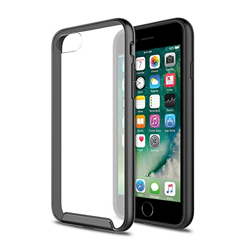 iPhone 7 Case, XDesign [Inception Series] Premium Stylish TPU Bumper + Scratch Resistant Clear Transparent Protective Hard Back Panel for Apple iPhone 7 (2016) - [Matte Black / Clear]