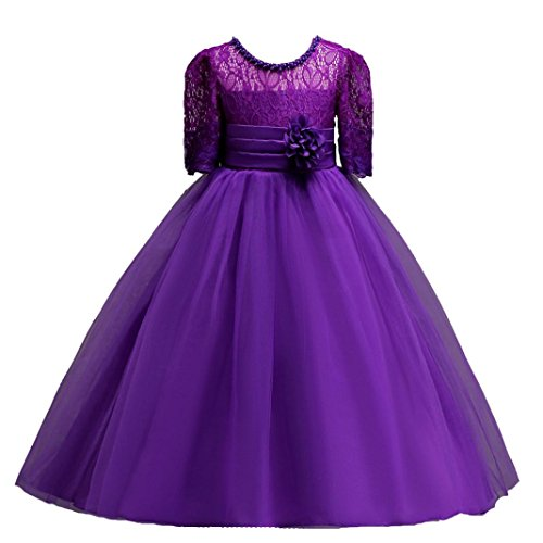 Price comparison product image Goodlock children Kids Fashion Dress Girls Lace Princess Bridesmaid Pageant Tutu Tulle Gown Party Wedding Dress (Purple, Size:14T)