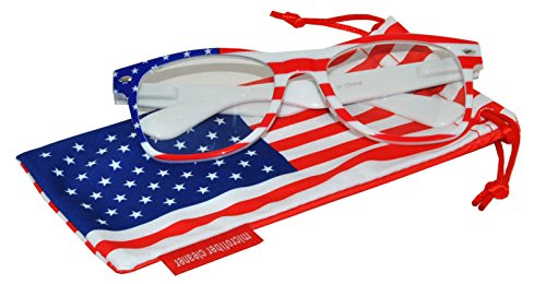 Classic American Patriot Flag Sunglasses USA Clear Lens White American Flag Frame - Eyewear Online Usa