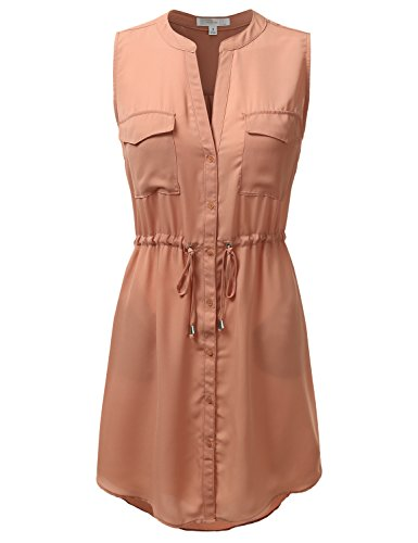 Buy belted button down shirt dress - 1