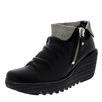 Womens Yoxi Casual Mousse Leather Black Wedge Heel Ankle Boot