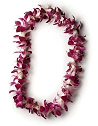 Hawaiian Lei - Fresh Single Strand Orchid Lei - Classic Purple