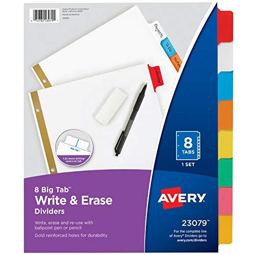 Avery 8-Tab Binder Dividers, Write & Erase Multicolor Big Tabs, 48 Sets (23079)