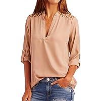 goddessvan Plus tamaño para mujer chifón Solid tab-sleeve Hollow Out Blusa T Camisa Tops Blusa Ropa