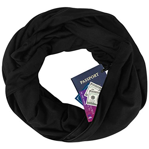YOUR GALLERY Zipper Pocketed Travel Scarf,Infinity Scarf with Pocket,No Need Purse,Nursing Scarves (Black)