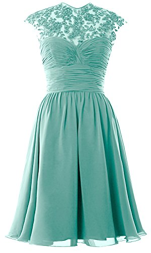 Sleeve Dress Lace Bridesmaid Short Gown High Ball Wedding Party Neck Turquoise Women Cap wxTqS6t0