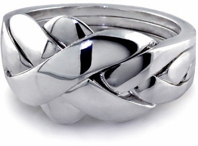 Sterling Silver Puzzle Ring 4BDS - Size: (Silver Puzzle Ring)