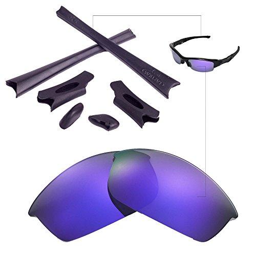 Walleva Replacement Lenses Or Lenses/Rubber Kit for Oakley Flak Jacket Sunglasses - 26 Options Available (Purple Polarized Lenses + Black - Purple Black Oakleys And