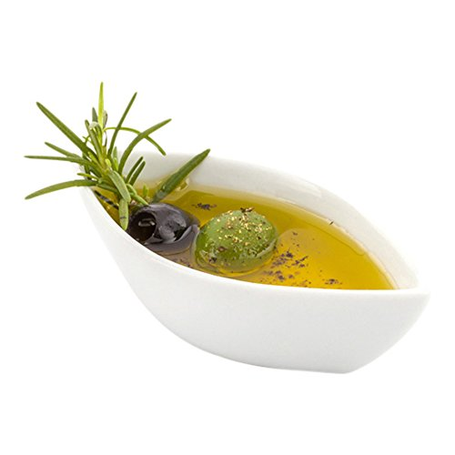 Mini Porcelain Canoe Dish, Olive Dish, Olive Oil Dish - White - 4.1 Inches - 10ct Box - Restaurantware