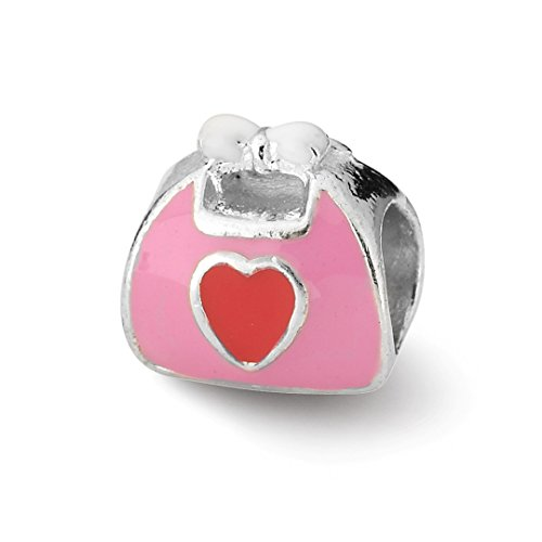 Enameled Pink Purse (ICE CARATS 925 Sterling Silver Charm For Bracelet Pink/red Enameled Purse Bead Personal Fine Jewelry Ideal Gifts For Women Gift Set From Heart)