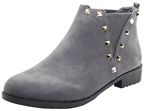 Chaussures Talon Femmes Chelsea Bottines Bloc Bottes Filles gris Dames 70 Biker Face Style D'hiver Le18 True De PHqwOq