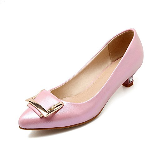 VogueZone009 Women's Pointed Closed Toe No-Heel Blend Materials Solid Pull-On Flats Shoes Pink