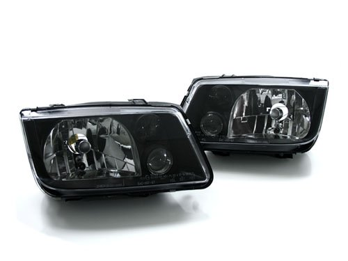 99-05 VW MK4 Jetta/Bora E-Code Headlights w/ Fogs - Black (1999 2000 2001 2002 2003 2004 2005)
