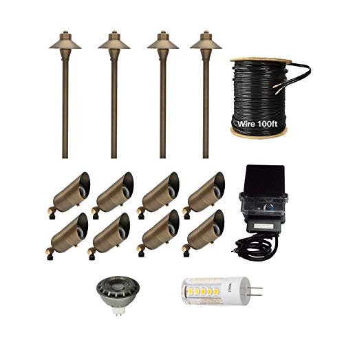 12 Pack LED Light Kit Outdoor Low Voltage Solid Brass Waterproof Landscape Lighting, 4 LED Brass Pathway Lights + 8 Led Brass Spotlights + 100ft 12/2 Low Voltage Cable + 150W Low Voltage Transformer