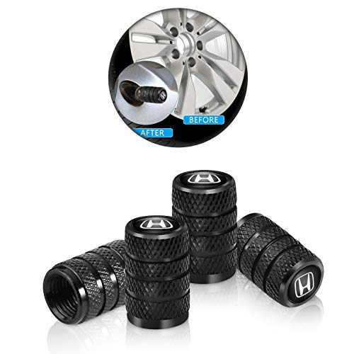 4 Pcs Metal Car Wheel Tire Valve Stem Caps for Honda Civic Accord Insight Clarity CR-V HR-V Pilot Logo Styling Black Decoration Accessories