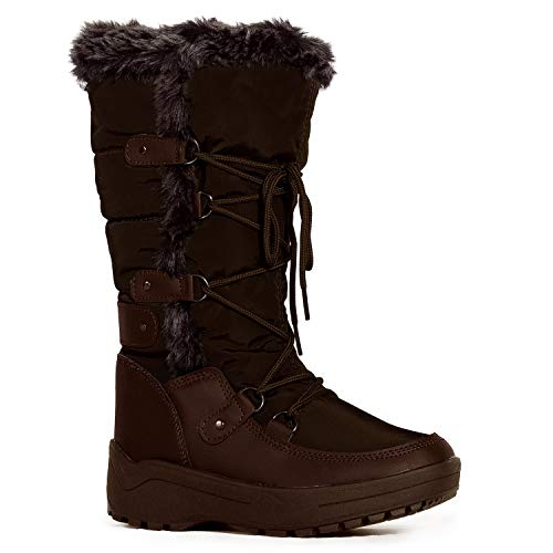 RF ROOM OF FASHION Women's Waterproof Warm Fur Lined Cold Weather Snow Rain Boots Brown (8.5) ()