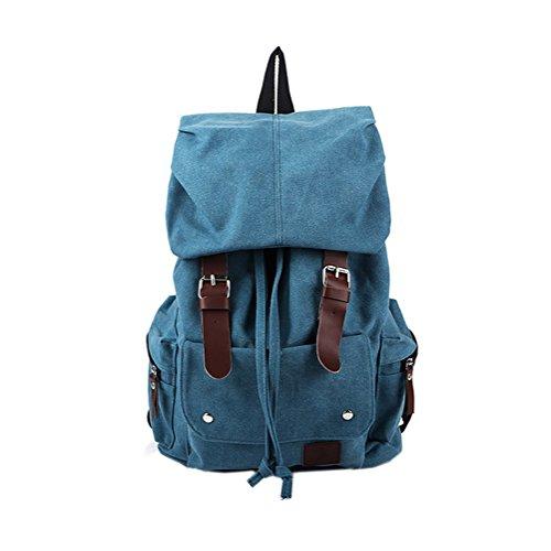 Sulida® Sulida Canvas Rucksack Vintage Casual Schulter Rucksack Schultasche Laptop Rucksack Blau