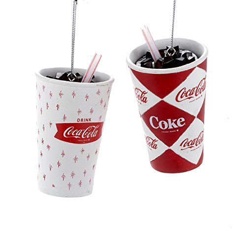 Kurt Adler 1 Set 2 Assorted Retro Coca-cola Cup Resin - Christmas Coca Cola Decorations
