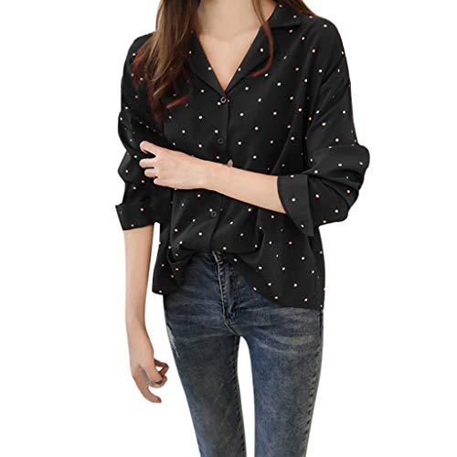 DEATU Women's Fashion Casual Loose Classic Polka Dot Shirt Ladies Bell Sleeve Blouse Tops (M, Black 2) ()