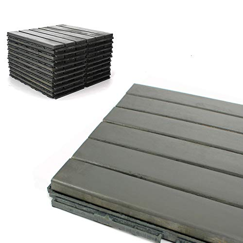 "Deck Tiles - Patio Pavers - Acacia Wood Outdoor Flooring - Interlocking Patio Tiles - 12""x12"" (20 Pack) - Modern Grey Finish - Straight Pattern Decking"
