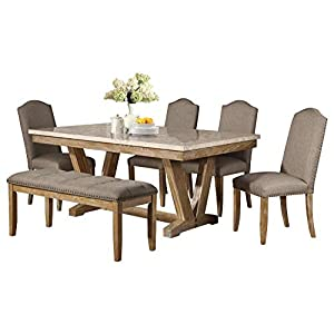 Jackhym Rustic Modern 6PC Dining Set Faux Marble Top Table, 4 Chair, Bench in Weather Wood