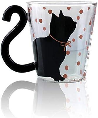 Taza de café o té de cristal con asa grande, apta para microondas ...