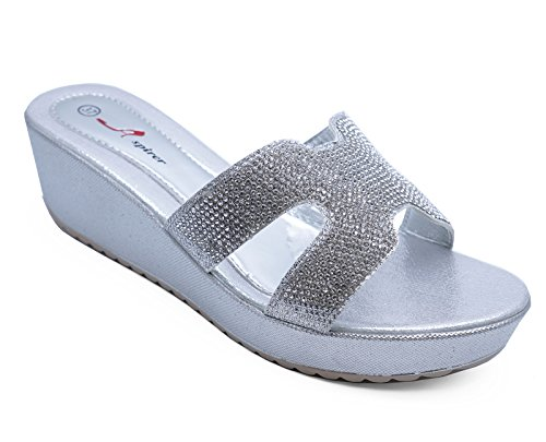 Sizes Wedges 8 Toe Silver Diamante Ladies Sandals Slip 3 Shoes Platform Open On pvcqO
