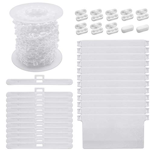 ABCmall Vertical Blind Accessories,12Pcs 89mm Vertical Blind Top Hangers+12Pcs Bottom Weights Slats + 10M Bottom Chain + 10Pcs Chain Connector