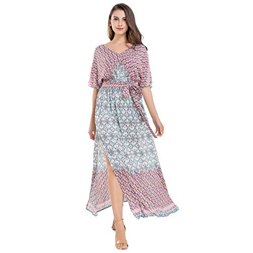 (JTANIB Women's Boho Vintage Print Sexy Side Split V-Neck Tie-Waist Maxi)