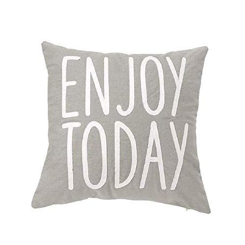 Mud Pie Enjoy Today Canvas Pillow [並行輸入品] B07RBF3WF5