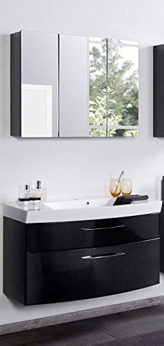 Badezimmer Waschplatz Set Hochglanz Anthr/schwarz, Spiegelschrank  Waschtisch Badset Incl. Waschbecken, Spiegelschrank