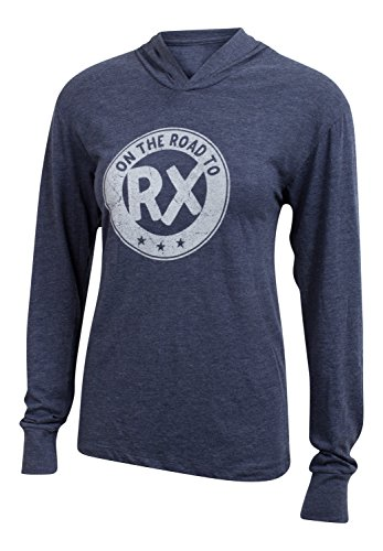 Price comparison product image On the Road to Rx - Navy - Women's Long Sleeve Triblend Hoody Shirt