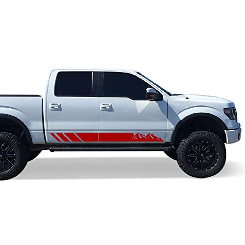 Bubbles Designs Set of Side Mountain Stripes Decal Sticker Graphic Compatible with Ford F150 Series 2009-2017 (RED)