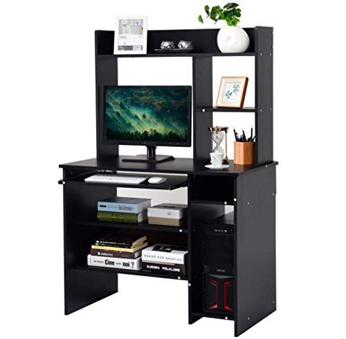 Tangkula Computer Desk, Computer Workstation with Storage Bookcase, Study Writing Home Office Desk with Hutch/Keyboard Tray, Modern Wood Multipurpose Desk (Black with Shelves) (Wood Computer Hutch)