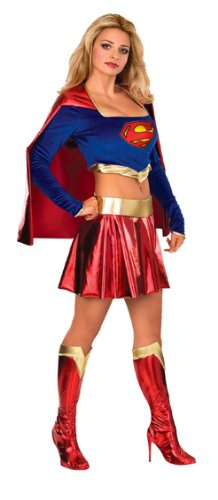 Secret Wishes DC Comics Women's Deluxe Supergirl Costume, Blue/Red, Small (Supergirl Sexy Costume)