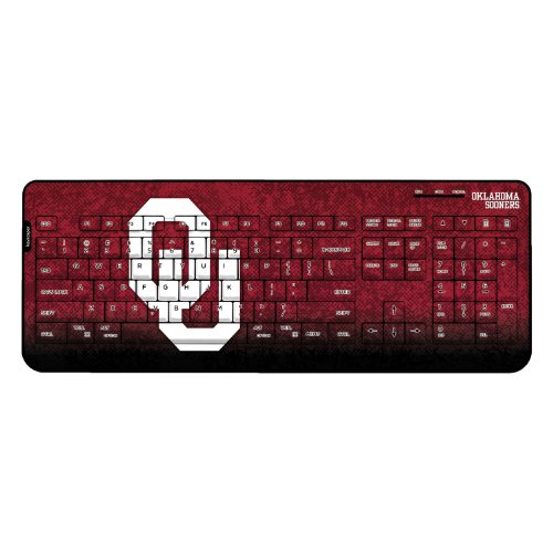 Oklahoma Sooners Wireless USB Keyboard officially licensed by the University of Oklahoma Full Size Low Profile Direct Print Plug & Play by keyscaper® by Keyscaper