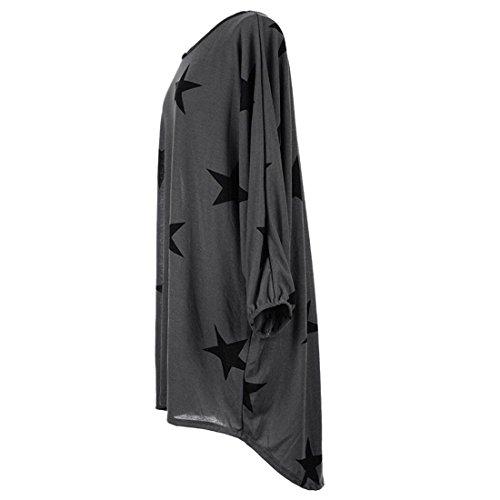 Mujeres Impreso redondo Cuello Vestido de moichien larga tama Gris gran o suelta Malla camiseta Estrella Ai Blusa de de manga qCO5wZZ