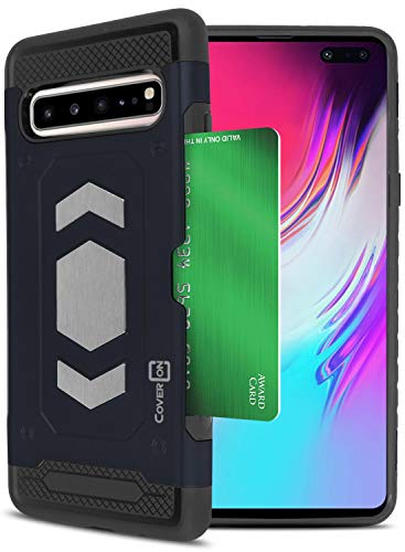 (CoverON Galaxy S10 5G Case with Credit Card Holder and Metal Plate Compatible with Magnetic Car Mounts - Metal Series Heavy Duty Protective Phone Case for The Samsung Galaxy 5G)