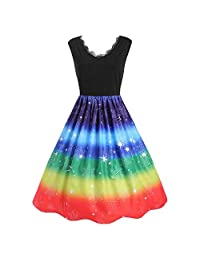 Dresses for Women,Fashion Women Vintage Plus Size Rainbow Print Christmas V-Neck Lace Party Dress
