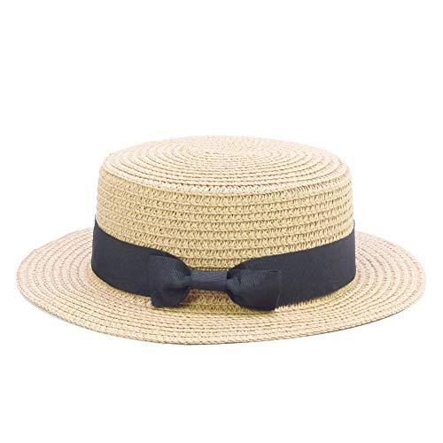 Sandy Ting Straw Hats Kids Boys Girls Skimmer Hat Sun Beach Panama Hat Beige (For Hats Flat Girls)