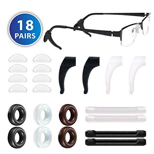 Eyeglass Retainer, 18 Pair Anti-slip Silicone Glasses Ear Grip Set Comfortable Eyeglass Temple Tips Eyeglass Nose Pad for Glasses Eyeglasses ()