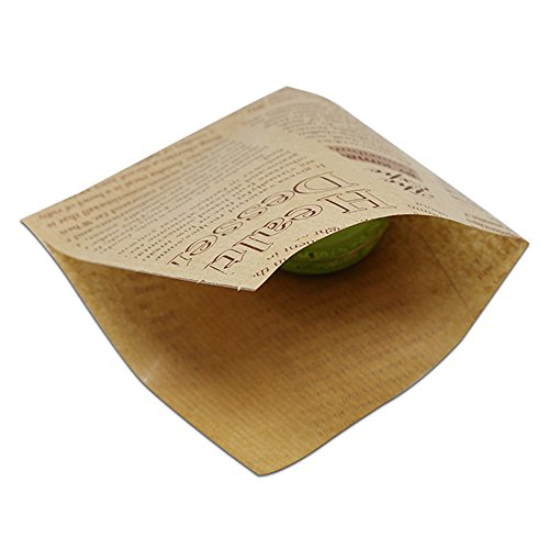 Kraft Paper Oil-Proof Food Storage Organization Sets Paperboard Macaron Chocolate Bread Pack Pouch Flat Merchandises Bags Wrapping Packaging for Lunch Takeaway (4.7x4.7 inch(English Printed), 100 pcs) (Bread Parchment)