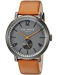Ted Baker Mens OLIVER Quartz Stainless Steel and Leather Dress Watch, Color:Brown (Model: 10031514)